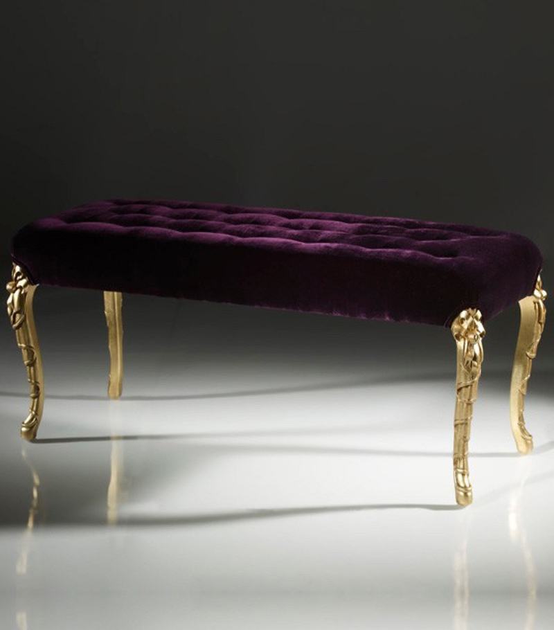 Velvet gold bed end bench